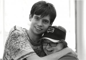 Kevin and Sarah Hugging