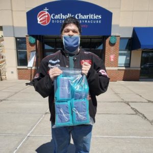Kevin delivering donated face masks to Catholic Charities of Fulton