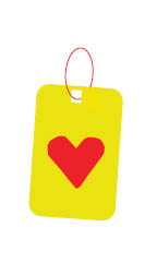 Yellow virtual gift tag with red heart
