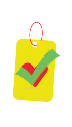 Yellow tag with red heart and green check mark